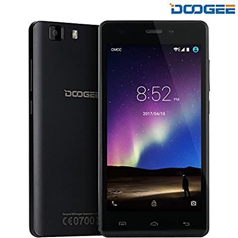 Telephone Portable Debloqué - DOOGEE X5 PRO Smartphone 4G (Écran IPS : 5 Pouces - Android 5.1 - Double SIM - 2Go RAM + 16Go ROM - MT6735 Quad Core) Téléphone Portable Pas Cher Sans Forfait Xender GPS - Noir