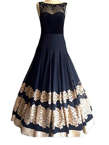 WIN13 black colour 60gm Georgette unstitched Gown