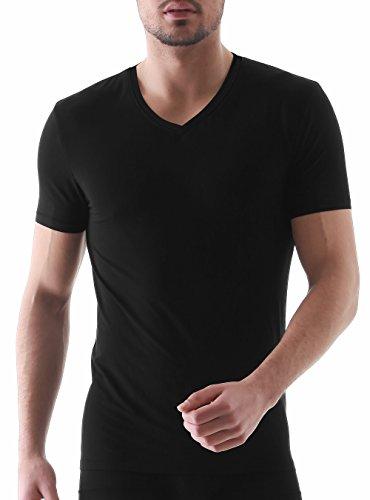 Genuwin Herren Business Unterhemden Kurzarm V-Ausschnitt Shirt Super-Weich Micro Modal Unterhemd, 3er Pack (Schwarz, L(Brustumfang 104-114cm))