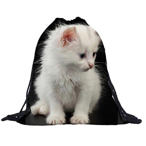 Minetom Unisex Sporttasche Tunnelzug Rucksäcke Katze 3D-Druck Mode Taschen Drawstring Backpack für Studenten Katze C Einheitsgröße (Campus-tüte)