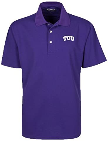 Oxford NCAA TCU Horned Frogs Men's Micro-Check Golf Polo, Grape, Small by Oxford