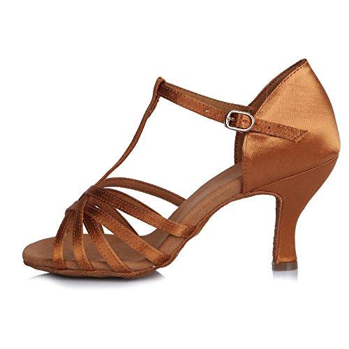 YFF Le donne di ballo latino scarpa raso Fine Ladies Tango tacco alto suola morbida sala da ballo Brown 65mm