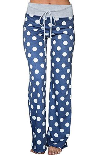Angashion Damen Blumenmuster Weite Bein Lange Hose Blau Punkte L