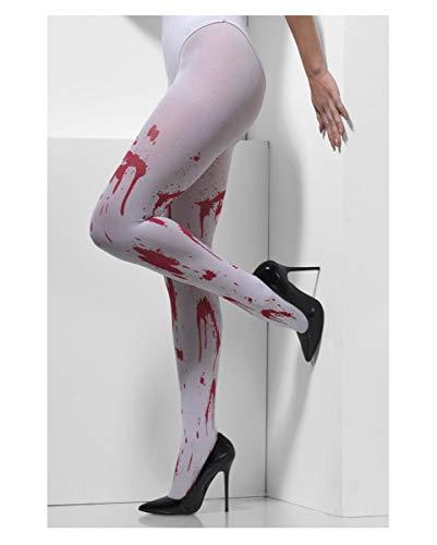 (Horror-Shop Weiße Strumpfhose mit roten Blutspritzer als Zubehör für jedes Halloween Kostüm)