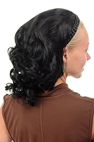 WIG ME UP ® - 90604-1 Mi-perruque noble avec serre-tête tressé hauteur d'épaules ondulée bouclée