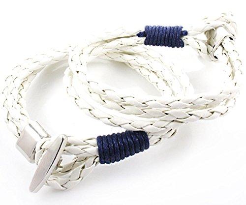 1pc Weiße Geflochtene Schnur PU-Leder Unisex-Armband Base Mit Silber-Chrom-Verschluss Für Schmuck Machen Erkenntnisse 21cm -