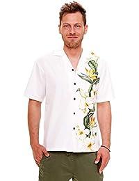 KY's| Chemise Hawaïenne D'Origine | Pour Hommes | S - 8XL | Manche Courte | Poche Avant | Hawaiian-Imprimer | Fleurs | Blanc