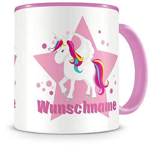 Samunshi® Kinder-Tasse mit Namen und einem großen Einhorn als Motiv Bild Kaffeetasse Teetasse Becher Kakaotasse Nr.1: rosa H:95mm / D:82mm