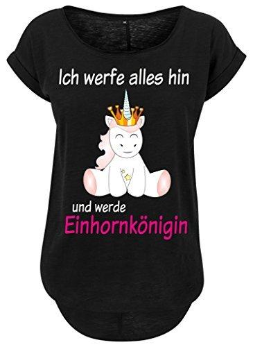 Femmes femmes Long Jille t-shirt t-shirt d'été Haut pour femmes Licorne Queen licorne cutie Ich jeter tout il et sera Reine de la licorne Noir