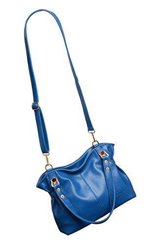 Borsa da donna, Young & Ming Donna Grande Capacità Elegante PU Cuoio della Da Donna Borsa Crossbody Tracolla Borsetta Totes Borsa(Giallo) Blu