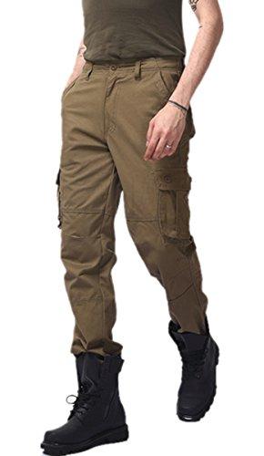 Panegy Cargo Pantalon Homme Garçon Combat Militaire Vintage Pants en Coton Jambes Longues Multi Poches avce Ceinture pour Taille FR 40-56 - 4 Couleurs Armée Jaune