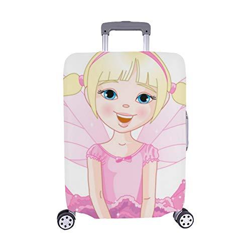 Nettes kleines Mädchen mit Schmetterlingsflügel-Muster Spandex-Staubschutz Trolley Protector case Reise-Gepäck-Schutz-Koffer-Abdeckung 28,5 X 20,5 ()