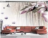 BHXINGMU Kundenspezifische Wandgemälde Lila Blumen Große Wohnzimmer Fernsehsofahintergrunddekoration 150Cm(H)×200Cm(W)