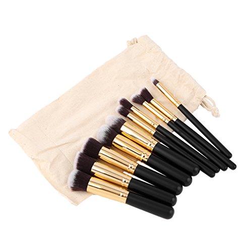 Ensemble De Pinceau De Maquillage, Kapmore 10pcs Pinceau Cosmétique Kit Fard à Paupières Visage Poudre Fond De Teint Pinceau