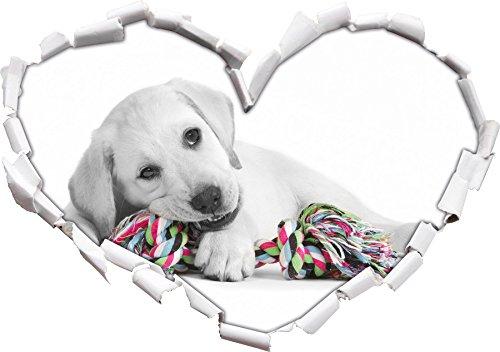 cucciolo di labrador che giocano a forma di cuore nero / bianco in formato sguardo, parete o adesivo porta 3D: 62x43.5cm, autoadesivi della parete, decalcomanie della parete, decorazione della parete