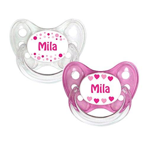 Dentistar® Silikon Schnuller 2er Set inkl. 2 Schutzkappen - Nuckel Größe 2, 6-14 Monate - zahnfreundlich und kiefergerecht   Mila