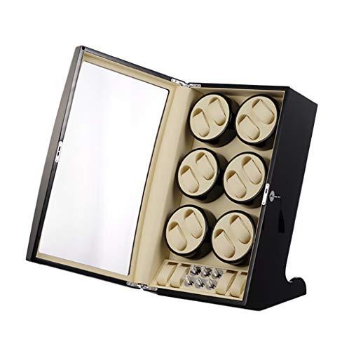 GUOSJ Uhrenbeweger und Aufbewahrungsbox zum Aufziehen 12 Automatikuhren und 4 Aufbewahrungsboxen für Herren- und Damenuhren, schwarz
