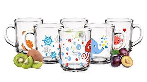 Tassen 250ml Teegläser Kindergläser Trinkgläser Saftgläser (Milchglas-tassen)