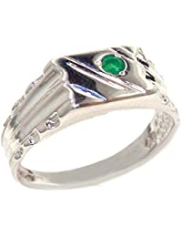 Amazon emerald rings men jewellery 925 solid sterling silver natural emerald solitaire mens gents signet ring aloadofball Gallery