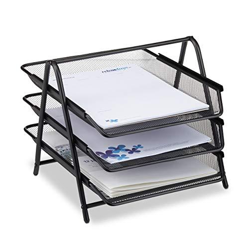 Relaxdays Dokumentenablage aus Metall, Briefablage 3 Fächer, Mesh Design Schreibtischablage für A4 Dokument, schwarz