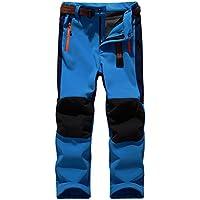 "Sidiou Group Deporte al aire libre Pantalones de Trekking Niño Pantalones de Montaña Softshell Pantalones Impermeable Pantalones Senderismo Niña Pantalones de Escalada Chicas Pantalones Forro Polar (L 27""(cintura: 68cm-84cm), Azul)"