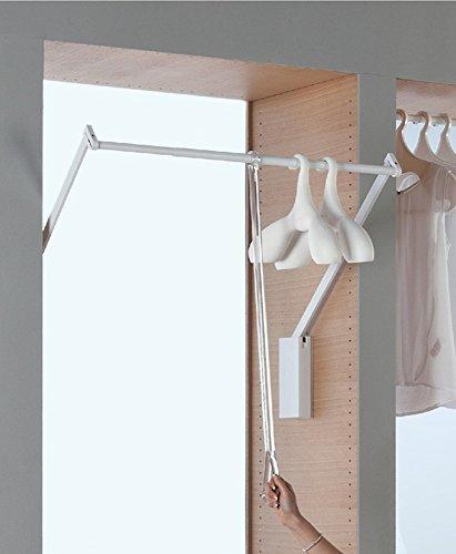 Gedotec Kleiderlift mit Soft-Close Dämpfung Schrank-Lift Wardrobe-Lift Kleiderstange - Servetto Slide | Kleiderlüfter klappbar weiß | verstellbar 560-950 mm | 1 Set - Garderoben-Lift mit Schrauben