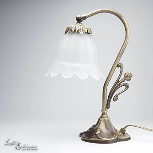 Tischlampe Echt-Messing Bronze Hell Floral Blumen Deko Glas Jugendstil Nachttischleuchte...