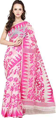 Exotic India Rasberry-Sorbet Jamdani Sari from Bangladesh with Temple Border and Florals Weave All-Over - Off-White -