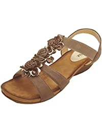 2b973e425ab75 chix Womens Mocha Flower Trim Sandals - Slip on with Stretch Front Strap