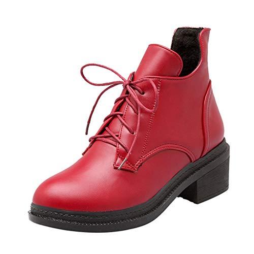 Frenchenal-Bottes Femme Plates Lacets Bottes Hiver Chaussures Chunky Bottines de Neige Randonnée Boots