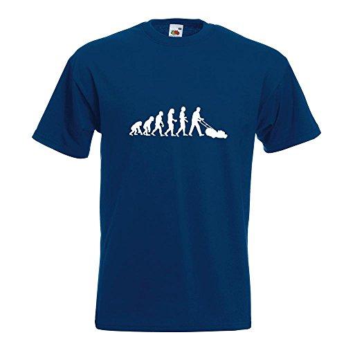 KIWISTAR - Evolution Rasenmäher T-Shirt in 15 verschiedenen Farben - Herren Funshirt bedruckt Design Sprüche Spruch Motive Oberteil Baumwolle Print Größe S M L XL XXL Navy