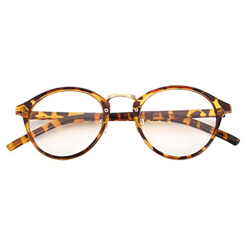 CGID Classic Nerdbrille Nostalgie Pantobrille Streberbrille Hornbrille clear lens Damen Herren,Mehrfarbig B