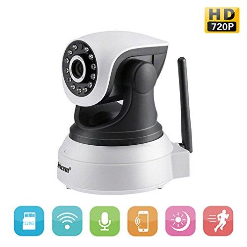 Sricam Cámara de Vigilancia Wifi Interior HD 720P P2P Pan/Tilt Rotación IR Visión Nocturna Detección de Movimiento Ethernet CCTV Cámara IP Seguridad para el Hogar con Micrófono y Altavoz (Negro)