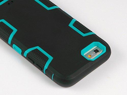 iPhone 6 Hülle, ULAK iPhone 6s Hülle 3in1 Stoßfest Hybrid High Impact Hart PC und Weiche Silikon Schutzhülle Tasche Case Cover für Apple iPhone 6/6s 4.7 Zoll (Schwarz+Blau) Schwarz/Blau