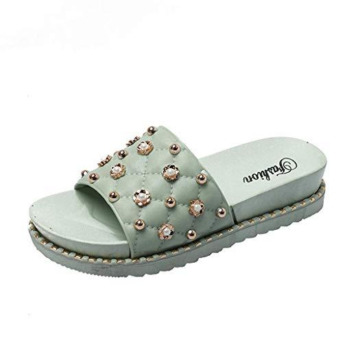 Mode Schuhe Strass Glitter Einfache Slipper Outdoor Indoor Breathable Flats Schuhe (Color : Grün, Size : 37 EU) ()