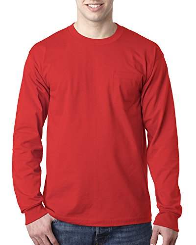Adult Adult Long-Sleeve Tee with Pocket RED XL - Rot Heavyweight Tee