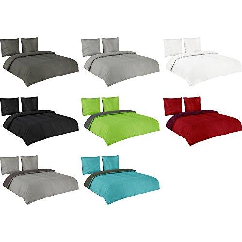 Basatex Microfaser Uni und Uni-Wende Bettwäsche in Allen Größen Viele Farben, 3 tlg. 200x220 cm + 80x80 cm + 80x80 cm Grau