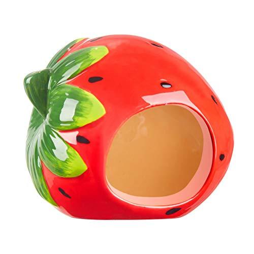 POPETPOP Erdbeer Form Hamster Höhle Keramik Haus Badehaus für Chinchilla Katze Kleine Hund