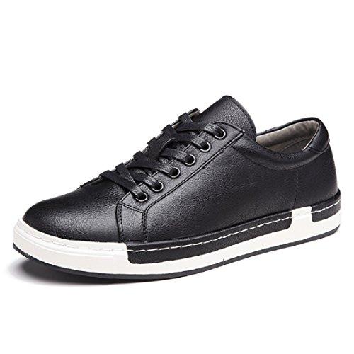 Zapatos de Cordones para Hombre Conducción Zapatillas Cuero Casual Shoes Attività Commerciale Sneakers Negro 45