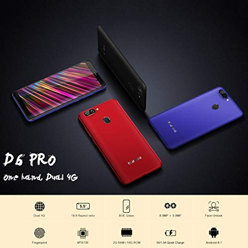 BLUBOO D6 Pro Unlocked Smartphone, 5.5 inch 2.5D Curved Display, Touch & Face ID 2GB+16GB Android 8.1 MTK6739V Quad Core up to 1.5GHz 4G LTE Dual Sim Mobile (Black) Img 3 Zoom