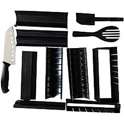 Ounona sushi Maker kit, sushi Maker DIY sushi riso rullo stampo da cucina strumenti di cottura 11pezzi (nero)