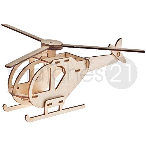 matches21 Helikopter Hubschrauber 3D Steckbausatz Modell für Kinder aus Holz Bausatz Werkset Bastelset geeignet ab 7 Jahren