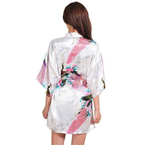 Honeystore Damen Morgenmantel glatte Satin Nachtwäsche Bademantel mit Peacock und Blume Kimono Negligee Seidenrobe Schlafanzug Weiß