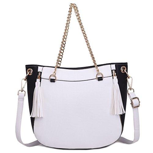 Miss Lulu Messenger Bag Borsa A Tracolla Catena Tracolla Borsa Da Donna Per Il Tempo Libero Viaggio Da Lavoro Shopper Lt1728-bianco / Nero