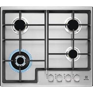 Electrolux EGS6436X hobs Integrado Encimera de gas Negro – Placa (Integrado, Encimera de gas, Acero inoxidable, Negro, hierro fundido, Izquierda)