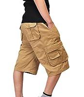 ZKOO Suelto Cortos Pantalones Cargo Hombre Bermuda Cortos con  Multi-bolsillo Verano Outdoor Corto Pantalón Algodón Deporte Shorts Ocio dfd7a047897