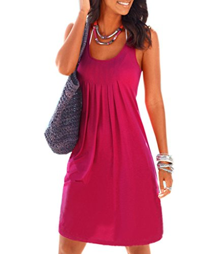 Dromild Femmes Sleeveness Chemise de Nuit Coton Chemise de Nuit Ruffee Hem Sleepwear Vin Rouge XXL