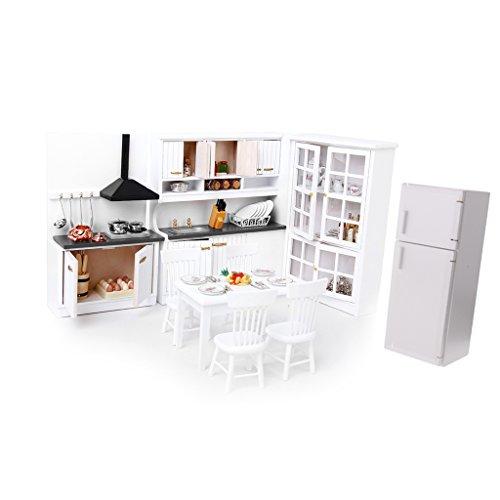 F Fityle 1/12 Dollhouse Miniatura Gabinete Blanco