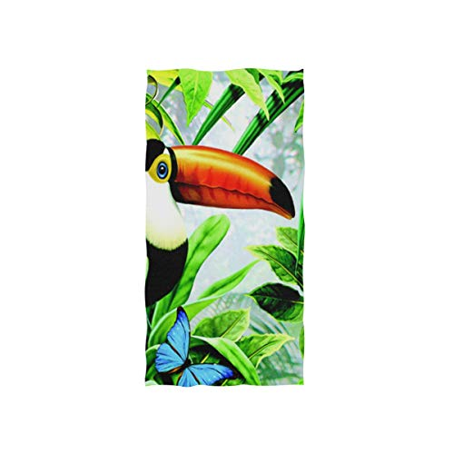 WowPrint Tropische Tukan Vogel Muster Handtuch Strandhandtuch, Leicht, Weich Microfaser Badetücher, Dekoration Hand Handtücher für Küche Zuhause Bad Spa Fitnessstudio Hotel (76 x 38 cm) -
