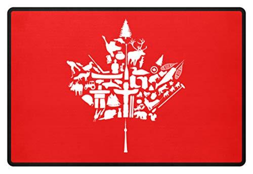 Shirtee Fussmatte Kanada - Ahornblatt Spezial - Fußmatte -60x40cm-Rubinrot